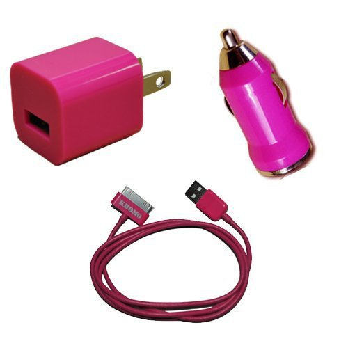 KHOMO: PINK Color USB Travel Kit with Car Charger, Wall Charger and USB SYNC Cable Adapter for Apple iPod  iPhone (ANY MODEL)