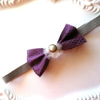 CIJ Sale 25% Off Purple Bow Headband Elastic Pearl Button Headband