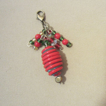 Christmas Lampwork Beaded Add a Charm / Purse Charm / Zipper Pull / Cell Phone Charm / Keychain Charm