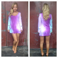 Purple Tie Dye Embroider Sleeved Dress