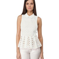 LUSH Sleeveless Eyelet Peplum Top | Women | Century 21 Department Store