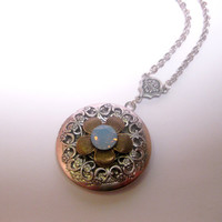 Whisper Blue Swarovski Element Flower Locket