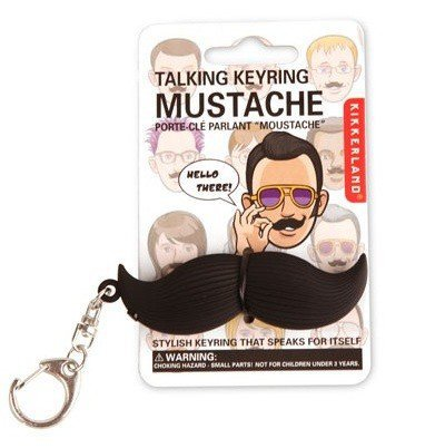 "Talking Mustache Keychain - Says ""Well hellloooo there"""