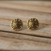 Sand Dollar Earrings in Aged Brass