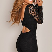 Long Sleeve Midnight Black Lace Romper
