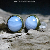 Grace Blue Lace Agate Gemstone Post Earrings