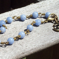 Tranquility - Blue Lace Agate Beaded Bracelet with Om charm