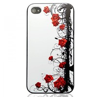 Generic Vintage Rose Embossment Case For iPhone 4/4S-Pattern A Color White