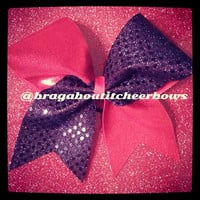 red and navy cheer bow by BragAboutItCheerBows on Etsy