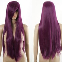 Long Straight 80cm Deep Purple Heat Resistance Cosplay Wig Anime Show & Fancy Dress Party & Performance Hair Full Wigs