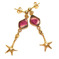 Watermelon Tourmaline Slice Earrings Starfish Earrings Long Earrings Gemstone Jewelry