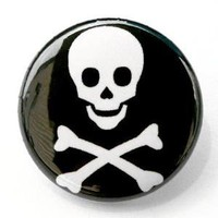 Skull And Crossbones Button Pin by theangryrobot