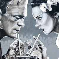 Amorous Libation by Mike Bell Bride of Frankenstein Framed Art Print
