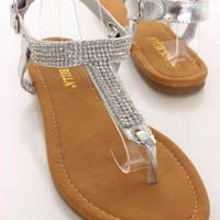 Silver Faux Leather T-Strap Sandals