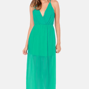Crossing Pathways Sea Green Maxi Dress
