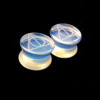 """Deathly Hallows Glass Plugs -Pick Color and Size- 2g (6mm) 0g (8mm) 00g (9mm) (10mm) 7/16"""" (11mm) 1/2""""(13mm) 9/16"""" 14mm 5/8"""" 16mm Ear Gauges"""