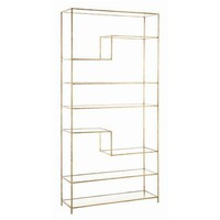 Arteriors Worchester Gold Leaf Iron and Glass Bookshelf
