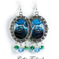 Tim Burton Chesire Cat Earrings Altered Art