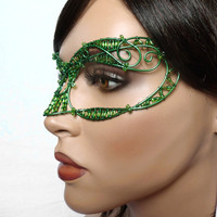 Green womens masquerade mask, costume, accessories, handmade