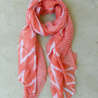 Wavy Lines Scarf in Coral [4373] - $14.00 : Vintage Inspired Clothing & Affordable Summer Frocks, deloom | Modern. Vintage. Crafted.