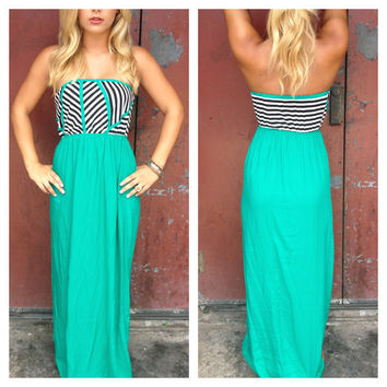 Emerald Striped Strapless Maxi Dress
