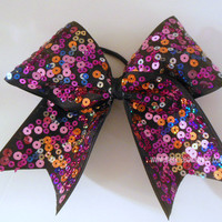 Multi Colored Sequin Large Cheer Bow Hair Bow by SparkleBowsCheer