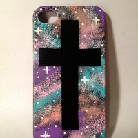 Hand Painted Galaxy Cross iPhone 4/4s Case