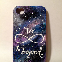 Hand Painted To Infinity and Beyond Galaxy iPhone 4/4s Case