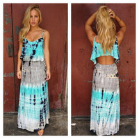 Aqua Tie Dye Open Back Maxi Dress