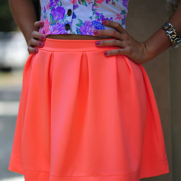 First Pleats Winner Skirt: Neon Coral | Hope's