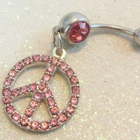 Belly button ring, naval piercing ring pink crystal peace sign 14ga