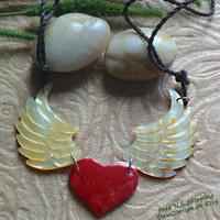 "Mother of Pearl/Red Shell ""Angel Heart"" Necklace, Adjustable Cotton Rope, Tribal Style, Naturally Organic"