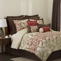 Lush Decor Hester 8-Piece Comforter Set, Red/Wheat/Brown