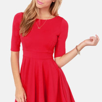 Black Swan Olivia Cherry Red Skater Dress