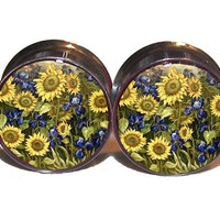 Field of Sunflowers Plugs  1 Pair  Sizes 2g 0g by PlainJanePlugs