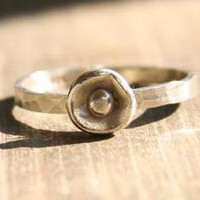 Recycled Sterling Silver Poppy Ring by punkybunny300 on Etsy