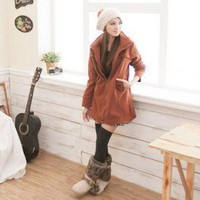Military Style Hooded Pure Color Slim Top Coat Camel