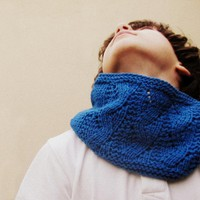 Knitted Cowl - Bright Blue Holiday Gift For Boy - Winter Accessories - Block Color - Kids And Adults