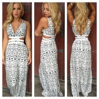 Aztec Print Open Side Maxi Dress