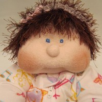 Soft Sculpture Handmade Cloth Baby Doll, Dinky Baby, Brown Hair, Blue Eyes, Child Friendly