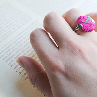 Rose Buds Button Ring, Nickel Free, Pink, Green, Cream
