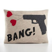 BANG recycled felt applique pillow 14x18 by alexandraferguson