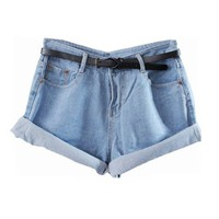 Retro High Waist Denim Shorts with Rolled Cuffs