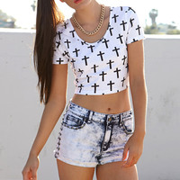 Womens Multi Cross Crop Top for Summer