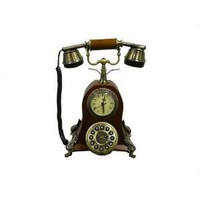 ORE International Classic Style Wood Cradle Telephone with Clock