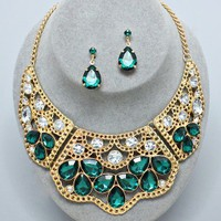 Classic Daily Elegant Gold Lace Emerald Green Clear Crystal Necklace Earring Set