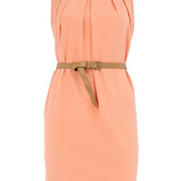Peach sleevless belted dress - Day Dresses - Dresses - Dorothy Perkins