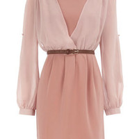 Pink v-sleeve dress - Party Dresses - Dresses - Dorothy Perkins