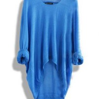 Blue Batwing Casual Asymmetric Sweater