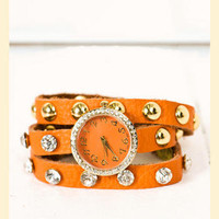 Spare Time Leather Watch in Orange                    - Francesca's Collections